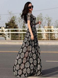 Fashion Western Slimming Short Sleeve Lace Maxi Dress Black