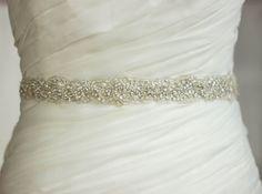 Bridal sash, Antiqued silver Rhinestone Ivory sash belt, Narrow Waist Wedding gown sash belt dress, diamante sash, embellished lace on Etsy, $231.00