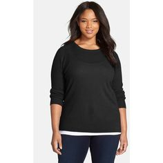 Halogen Cashmere Crewneck Sweater ($99) ❤ liked on Polyvore featuring tops, sweaters, black, plus size, crewneck sweater, plus size long sleeve tops, cashmere crewneck sweater, cashmere sweaters and black cashmere sweater