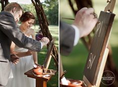 """a neat unity candle alternative: have a canvas painted like the bark of a tree, and use oil paints to """"carve"""" (paint) initials on the canvas. Wedding Unity Candles, Unity Ceremony, Wedding Ceremony, Our Wedding, Dream Wedding, Unity Painting, Unity Candle Alternatives, Painted Initials, Corporate Event Design"""
