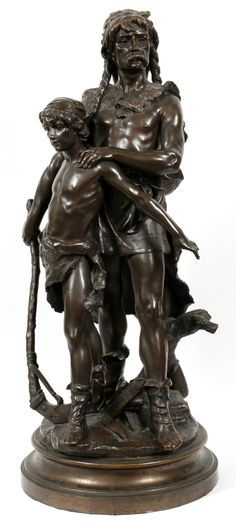 "HONORE PLE [FRENCH, 1853-1922], BRONZE SCULPTURE, H 34"", A HUNTER WITH HIS SON: In brown, bronze patina. Figure has braided hair and mustache with animal skin cloak. Holding primitive axe. Young boy wearing loincloth and holding dagger in right hand. On round bronzebase. Signed."