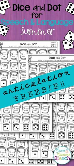 Free articulation activities for summer speech therapy - great for speech homework!