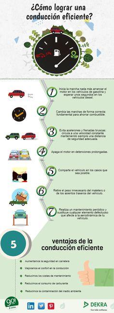 7 pasos para conseguir una conducción eficiente #infografia #automóvil…