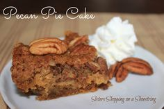 Pecan Pie Cake Recipe - So good! Tastes like one big pecan tart with 1/2 the work!  A big hit at any holiday gathering!