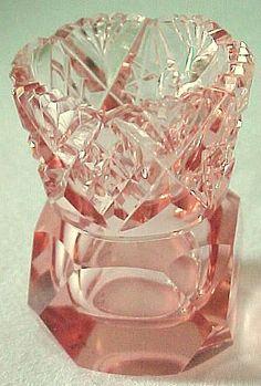 Pink Depression Glassware Toothpick Holder