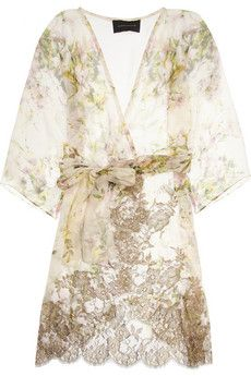 Rosamosario Silk-Creponne and Lace Robe