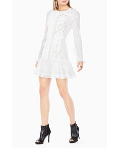 BCBGMAXAZRIA | White Guinevere Ruffled Lace Dress | Lyst