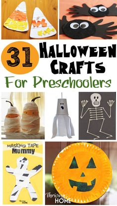 31 Easy Halloween Crafts for Preschoolers : Looking for easy Halloween craft ideas? This round up of Halloween Crafts for Preschoolers has loads of ideas that you can do at home or in a school setting. Great craft ideas for Halloween class parties too! Halloween Class Party, Fete Halloween, Halloween Crafts For Kids, Holidays Halloween, Halloween Themes, Holiday Crafts, Holiday Fun, Halloween Decorations, Monster Decorations