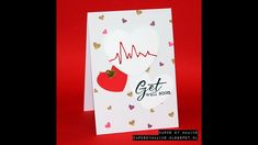 Get well soon card with embroidery