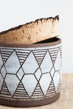 April Napier Ceramic Diamonds Canister with Cork | Oroboro Store