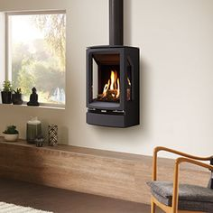 Gas Stove Fireplace, Wood Burner Fireplace, Mounted Fireplace, Freestanding Fireplace, Fireplace Wall, Fireplace Design, Freestanding Stoves, Foyers, Open Plan Kitchen Living Room