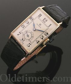1930s 18ct gold rectangular vintage Rolex watch - Olde Timers