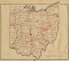 Map shows the paths of the ancient Indian trails in Ohio.  Many of these trails are thousands of years old. It is of interest the trails converge in south central Ohio where the greatest concentration of Adena Hopewell burial mounds and earthworks are located.