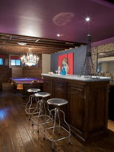 brooklyn brownstone basement with rec room and bar