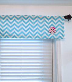 PINK OWL Curtain Valance Aqua Blue Chevron Kids Room by OldStation