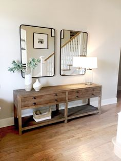 Emerson Grey Designs: entry way design by Bri Moysa of Emerson Grey Designs using Restoration Hardware console and Rejuvenation rounded rectangular mirrors Foyer Furniture, Modern Decor, Decor, Interior Design, House Interior, Furniture, Home, Interior, Home Decor