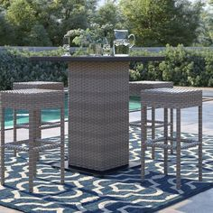 Sol 72 Outdoor™ Rockport 5 Piece Dining Set with Cushions & Reviews | Wayfair Wicker Dining Chairs, Wicker Patio Furniture, Outdoor Furniture Sets, Rattan, Furniture Ideas, Pub Table Sets, Bar Tables, Patio Sets, Weather Nice