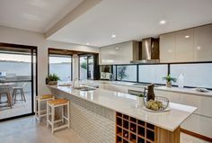 Albedor Organic Decorative Panel featured in this Impressions (Byford) Display Home kitchen. Design by the talented Jane Fyfe of 4 Rooms. Roller Doors, Built In Furniture, Display Homes, Decorative Panels, Panel Doors, High Gloss, Home Kitchens, Vanity, Interior