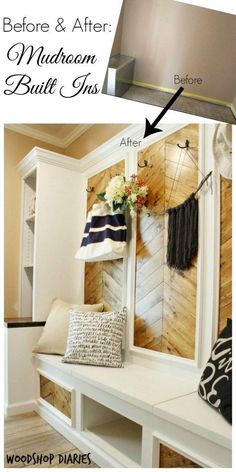 Before and After: DIY Mudroom Built Ins.  You wont believe the difference in this mudroom space.  Warm wood tone panels with gorgeous white trim.  Would fit perfect in a modern farmhouse home.  Plenty of storage in the flip tops benches and adjustable shelves!