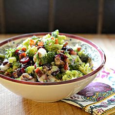 Broccoli Chicken Salad or Broccoli Side Salad without Chicken   This salad is as beautiful as it's nutritious and delicious! Revised from the good old days of raisins and sunflower seeds to a main dish with chicken. But works as a side dish without the chicken if you prefer. Crunchy multi-flavor with a sweet-n-sour …
