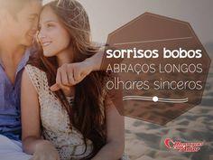 Sorrisos bobos, abraços longos, olhares sinceros... #sorriso #abraco #olhar #sincero #amor #felicidade