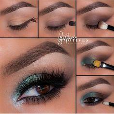 Brown green eye makeup #tutorial #evatornadoblog #awesome