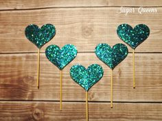 Peacock Glitter Heart Cupcake Toppers / Wedding, Bridal Shower, Engagement Party, Baby Shower, New Years Eve ~ Use coupon code PINTEREST15 at checkout for 15% off of your total order!