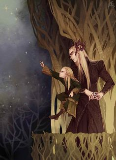 An elfling trying to touch the stars and a father trying to keep him close