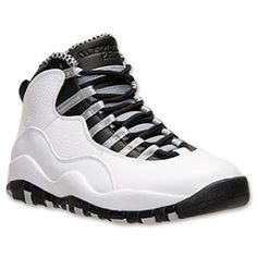 Men's Jordan Retro 10 Basketball Shoes | FinishLine.com | White/Black/Light Steel Grey