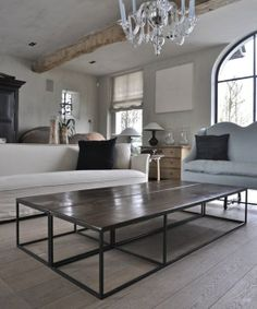 rustic calm......if one coffee table looks to small, use 2!!!!!