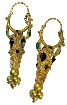 Ancient Persian. 22kt gold hollow earrings with  pear and circular shaped garnet and green stones, raised dot patterns. Chain and pin closure. 500 BC