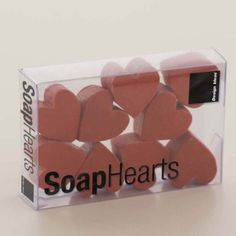 "Scented Soap Hearts by Design Ideas. $9.99. each heart:0.8""x0.9""x0.5""; box:3.3""x2.25 x2.25"". Soap. Create a romantic ambiance with our Scented Soap Hearts. These miniature scented soaps are mixed according to an honored Thai formula and hand poured into little heart shapes. Each piece will last for one or two washings. Comes in a pack."