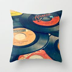 Take those old records off the shelf Throw Pillow by Edward M. Fielding - $20.00