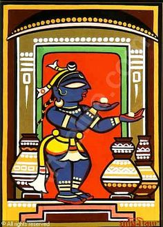 jamini roy paintings - Google Search Modern Indian Art, Indian Folk Art, Indian Artist, Ganesha Drawing, Lord Ganesha Paintings, Madhubani Art, Madhubani Painting, Traditional Paintings, Traditional Art
