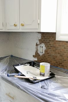 Note Explaining Everything That Did Paint Tile But For Easy Diy Geometric  Painted Kitchen Backsplash Runaway Apricot