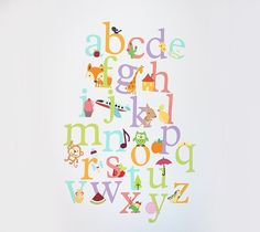 Kids Alphabet Wall Decal by Damask Love. Make It Now with the Cricut Explore machine and Print then Cut feature in Cricut Design Space.