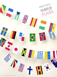 FREE printable World Flags http://Bunting.To make watching the Olympics on TV at home more festive and exciting, for a world travel themed party or to celebrate any international occasion, we've put together these 100 countries printable world flags in one file, in perfect sizes to make party bunting with.