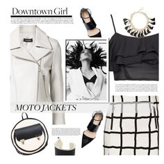 """After Dark:  Moto Jackets"" by tinayar ❤ liked on Polyvore featuring Yigal AzrouÃ«l, Sibilia, Topshop, Alisa Smirnova and motojackets"