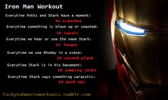Website full of movie & tv workout games (like drinking games) fuckyeahmovieworkouts Tv Workout Games, Tv Show Workouts, Fun Workouts, At Home Workouts, Workout Ideas, Man Movies, Movie Tv, Iron Man Workout, Disney Movie Workouts