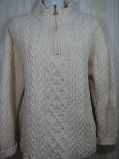 Aran Crafts Ireland Size XL Fisherman Sweater Cable Knit Pullover Merino Wool  #Arancrafts #12Zip