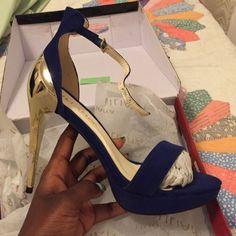 Sale Price  Suede Blue & Gold Mirror Heels