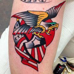 Traditional American Eagle Flag And Shield Tattoos | Tattoobite.com