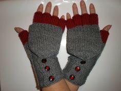 Wonderfulknittings etsy shop - grey and red gloves.