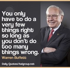Career Lesson: You only have to do a very few things right so long as you don't do too many things wrong. #Leadership #WarrenBuffett #Tech #CEO #Business #Inspire #NYC