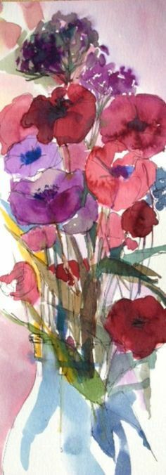 Original Water Colour Painting 'Tall Floral Arrangement'. Signed.