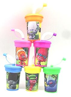 Amazon.com: 6 Trolls Stickers Birthday Sipper Cups with lids Party Favor Cups: Toys & Games