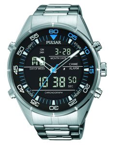 Pulsar PW6017 Digital Mens Watch Chronograph Stainless Steel With Alarm