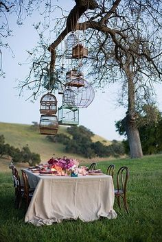 Lovely outdoor table setting, under a tree with vintage birdcages. So romantic. Would make a great 'sweetheart' table setting for romantic proposal!
