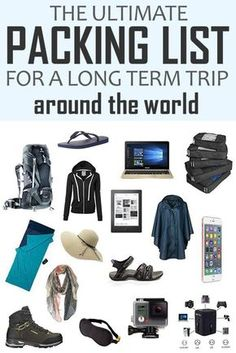 The Ultimate Packing List For A Long Term Trip Around The World! Click to learn how to pack your bag for a long-term trip around the world. Tried and tested list + a printable pdf to help you to pack your bag like a pro. Travel Tips.