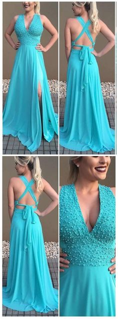 A-line Deep V neck Sleeveless Prom Dresses, Backless Sexy Sweep train Bridesmaid Dresses APD2786a backless sexy prom dresses,chiffon beaded prom dresses for autumn,deep v neck sweep train dresses.